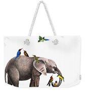 Elephant With Birds Illustration Weekender Tote Bag