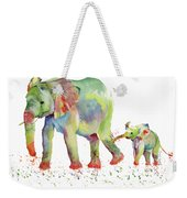 Elephant Family Watercolor  Weekender Tote Bag by Melly Terpening