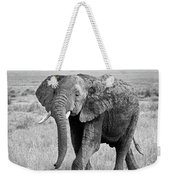 Elephant Happy And Free In Black And White Weekender Tote Bag