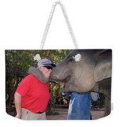 Elephant Kissing Man Holding Bananas Weekender Tote Bag