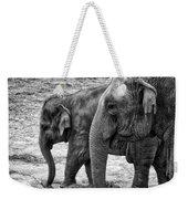Elephants Bw Weekender Tote Bag