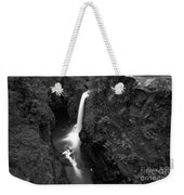 Elk Falls In The Canyon Black And White Weekender Tote Bag