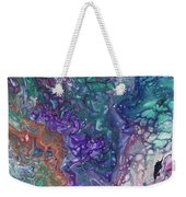 Emerald And Amethyst. Abstract Fluid Acrylic Painting Weekender Tote Bag