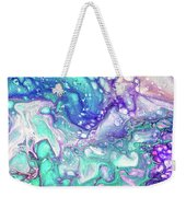 Emerald And Amethyst  Fragment 9.  Abstract Fluid Acrylic Painting Weekender Tote Bag