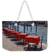 Empty Canal Side Tables Awaiting Hungry Customers In Venice, Italy  Weekender Tote Bag