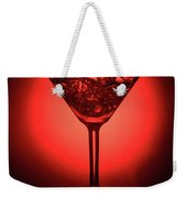 Empty Cocktail Glass On Red Background Weekender Tote Bag