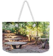 Empty Picnic Tables In The Early Fall With Fallen Leaves Weekender Tote Bag