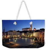 Empty Tartini Square In Piran Slovenia With Courthouse, City Hal Weekender Tote Bag