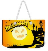 Enchanted Castle Over The Zombies Cemetery In Halloween Night Weekender Tote Bag
