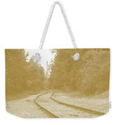 End Of The Rail-sepia Weekender Tote Bag