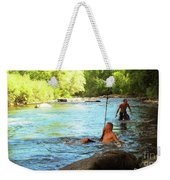 Enjoying The Cool Creek Weekender Tote Bag