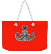 Eod Master Badge Emblem On Red Weekender Tote Bag