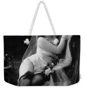 Erotic Photo Of A Model Wearing Lingerie Stockings And Garters Weekender Tote Bag