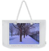 Evening Snow Path At Waterfront Park Burlington Vermont Poster Greeting Card Weekender Tote Bag