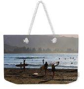 Evening Surfers At Hanalei Bay Weekender Tote Bag
