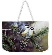 Evergreen Chickadees Weekender Tote Bag