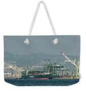 Evergreen Freight Ship And Cargo In Port Of Oakland, California Weekender Tote Bag