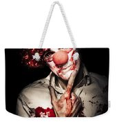 Evil Blood Stained Clown Contemplating Homicide Weekender Tote Bag