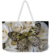 Exotic Butterfly On White Roses Weekender Tote Bag