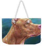 Expressive Painting Of A Red Nose Pit Bull On Blue Background Weekender Tote Bag