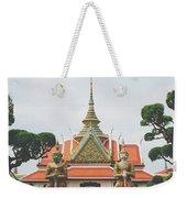 Exquisite Details On The Building Of Wat Arun In Bangkok, Thailand Weekender Tote Bag