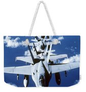 Fa-18c Hornet Aircraft Fly In Formation Weekender Tote Bag