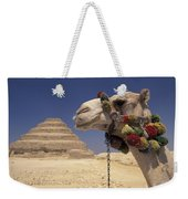 Face Of A Camel In Front Of A Pyramid Weekender Tote Bag