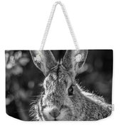 Face Of A Rabbit In Black And White Weekender Tote Bag