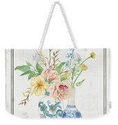Faded Glory Chinoiserie - Floral Still Life 2 Blush Gold Cream Weekender Tote Bag