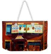 Fairmount Bagel By Montreal Streetscene Painter Carole  Spandau Weekender Tote Bag