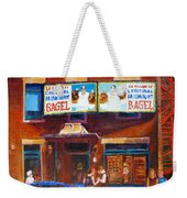 Fairmount Bagel With Blue Car  Weekender Tote Bag