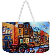 Fairmount Bagel With Hockey Game Weekender Tote Bag