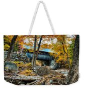 Fall Colors Over The Flume Gorge Covered Bridge Weekender Tote Bag