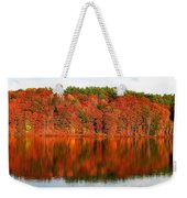 Fall Foliage Reflection Kennebec River Hallowell Weekender Tote Bag