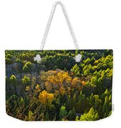 Fall Forest And Lake Top View Weekender Tote Bag