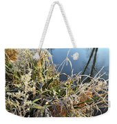 Fall Frost On Grasses Along Nippersink Creek Weekender Tote Bag