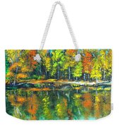 Fall Landscape Acrylic Painting Framed Weekender Tote Bag