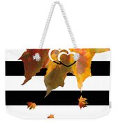 Fall Leaf Love Typography On Black And White Stripes Weekender Tote Bag