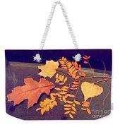 Fall Leaves On Granite Counter Weekender Tote Bag
