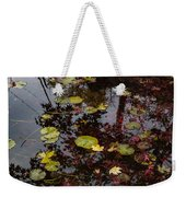Fall Pond Reflections - A Story Of Waterlilies And Japanese Maple Trees - Take One Weekender Tote Bag