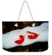Fall Red Winter White Weekender Tote Bag