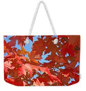 Fall Tree Leaves Red Orange Autumn Leaves Blue Sky Weekender Tote Bag