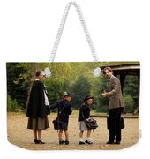 Family Of Four In Park Beside Bandstand Weekender Tote Bag