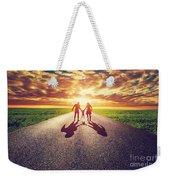 Family Walk On Long Straight Road Towards Sunset Sun Weekender Tote Bag