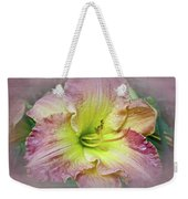 Fancy Daylily In Pink And Yellow Weekender Tote Bag
