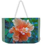 Fancy Peach Hibiscus Weekender Tote Bag