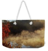 Fantastic Foggy River With Fresh Green Grass In The Sunlight. Weekender Tote Bag