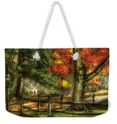 Farm - Fence - On A Country Road Weekender Tote Bag