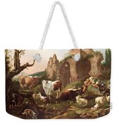 Farm Animals In A Landscape Weekender Tote Bag