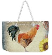 Farm Fresh Barnyard Rooster Morning Sunflower Rustic Weekender Tote Bag